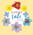 summer sale flower banner with text on yellow vector image