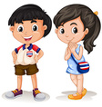 Thai boy and girl smiling vector image