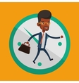 Businessman running on clock background vector image vector image