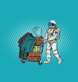 astronaut traveler with baggage cart vector image