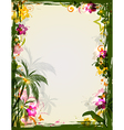 Bright tropical frame with palms and toucan vector image