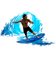 Surfer on waves vector image vector image