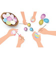 happy easter family having fun paint and decorate vector image