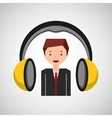 headphones music cartoon businessman vector image