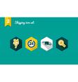 Shipping flat icons set vector image