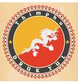Vintage label cards of Bhutan flag vector image