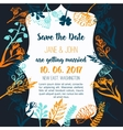Wedding invitation with flowers rustic design on vector image