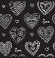 white boho ornamental hearts on black background vector image vector image
