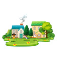 Kids doing exercises in front of houses vector image