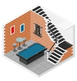 Basement isometric icon set vector image