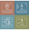 lighthouse logo design templates - linear vector image