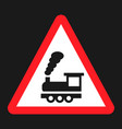 railroad crossing without barrier sign flat icon vector image