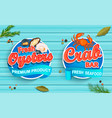 seafood emblems on blue wooden background vector image