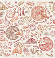 seamless pattern with classical italian foods vector image