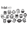 Tribal owl set in monochrome vector image