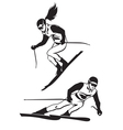 Two skiers on track vector image