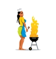 Girl and barbecue Cartoon vector image