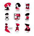 lady logo design set for vector image vector image