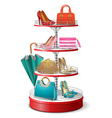 Round Shelf with Female Accessories vector image