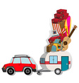 Car with wagon loaded with luggages vector image