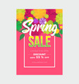 bright pink spring poster with floral top border vector image