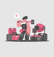 builder worker with hammer and tools vector image