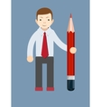 Businessman-Teacher with a pencil to correct and vector image