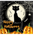 Halloween background with pumpkins moon and cat vector image