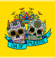 mexican sugar skulls with floral pattern dia de vector image