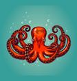 octopus engraving vintage color engraving color vector image