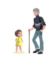 old man character walking with little girl vector image