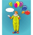 Smiling clown cartoon character with colorful vector image