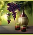 wine bottle and grapes vector image