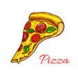 pizza slice pizzeria fast food icon vector image