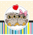 two cute cartoon owls vector image