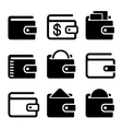 Wallet Icons Set on White Background vector image vector image
