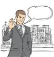 happy businessman shows ok sketch vector image vector image