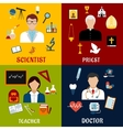 Scientist teacher doctor and priest professions vector image
