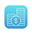 Dollar coins line icon vector image