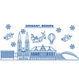 Germany bremen winter city skyline merry vector image
