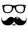 nerd glasses mustaches icon simple style vector image