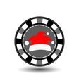 poker chip Christmas new year Cap Santa Claus red vector image