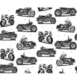 Retro motorcycles seamless pattern vector image