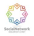 social network letter v arrow design vector image