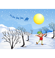 An elf in a snowy place vector image
