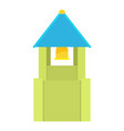 green bell tower with blue bell roof icon vector image