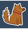 Cute character Dog with heart on collar vector image vector image