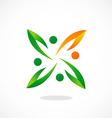 people ecology circle leaf logo vector image