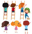 boys and girls on ladder writing vector image