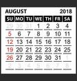 calendar sheet august 2018 vector image